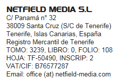 Netfield Media S.L. Impressum